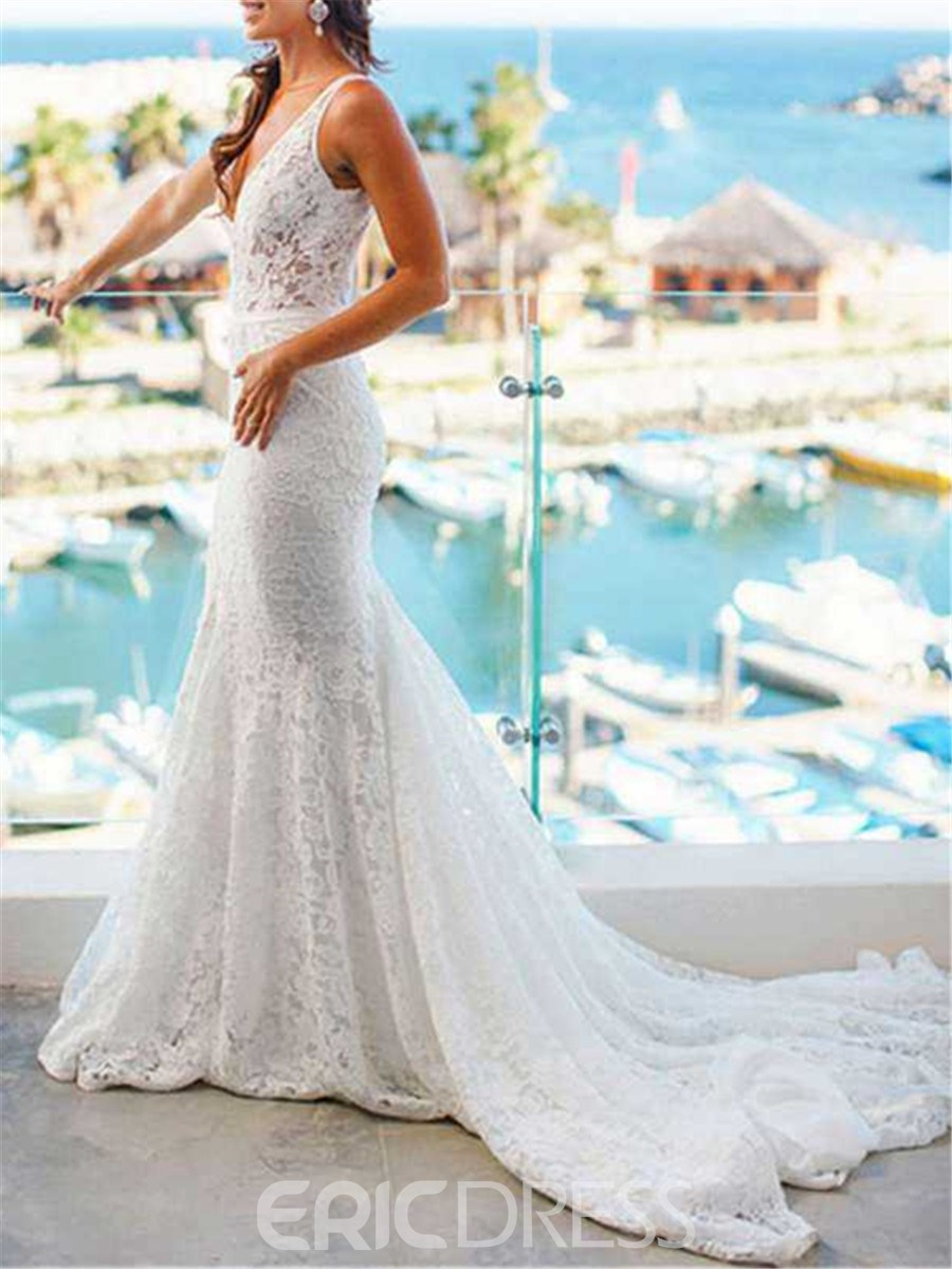 Ericdress Court Train Mermaid Lace Wedding Dress