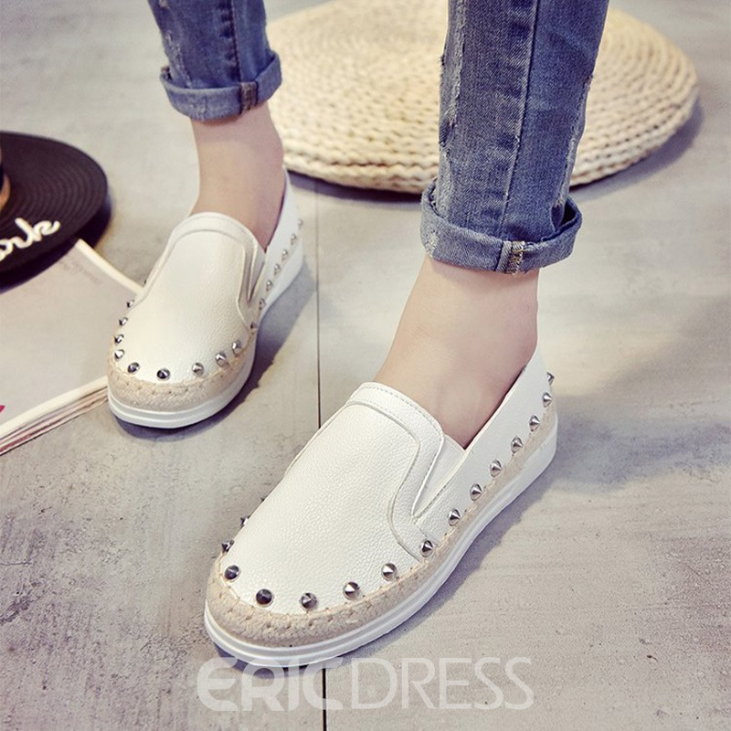 Ericdress Rivet PU Woven Round Toe Women's Flats