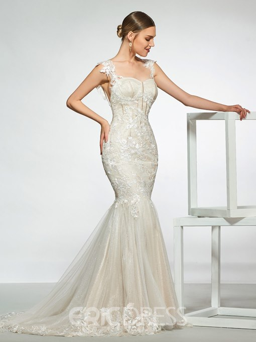 Ericdress Straps Appliques Backless Mermaid Wedding Dress
