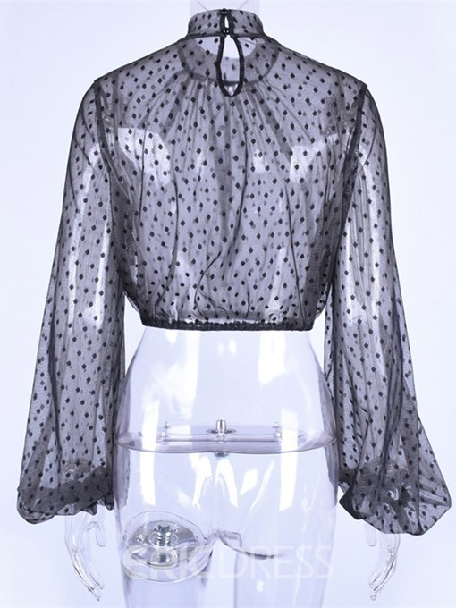 Ericdress Lantern Sleeve See-Through Polka Dots Short Long Sleeve Blouse
