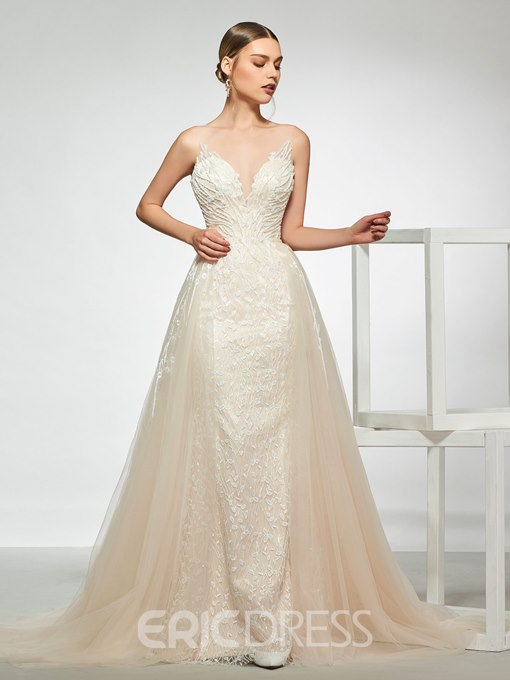 Ericdress Straps Beading Lace Wedding Dress with Removable Train