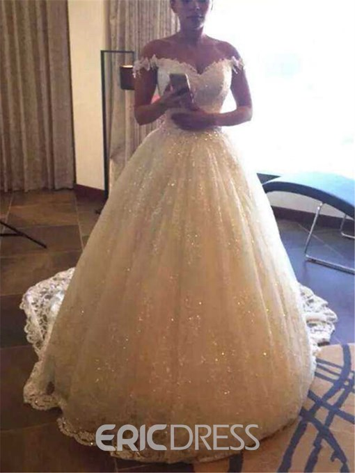 Ericdress Spaghetti Straps Cathedral Cap Sleeves Ball Gown Beach Wedding Dress
