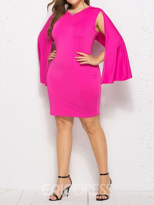 Ericdress Plus Size Knee-Length Long Sleeve V-Neck Asymmetrical Plain Dress