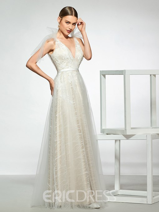Ericdress Bow Straps A-Line Lace Wedding Dress