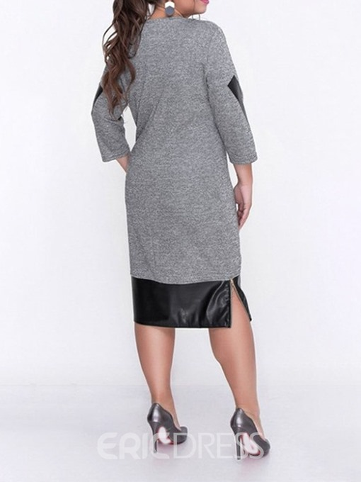 Ericdress Patchwork Mid-Calf Three-Quarter Sleeve Casual Plus Size Dress