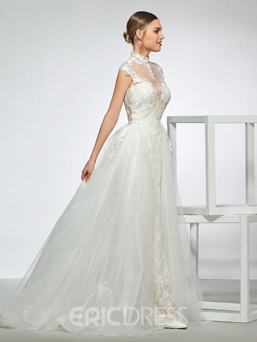 High Neck Mermaid Lace Wedding Dress with Removable Train