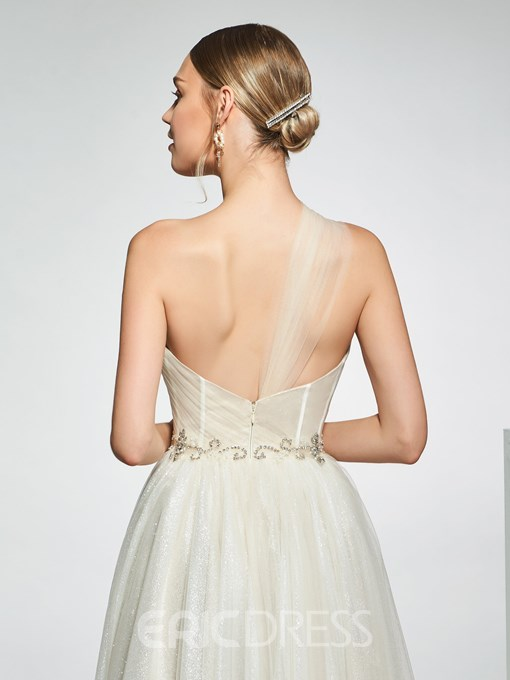 Ericdress One Shoulder Beading Hall Wedding Dress 2019
