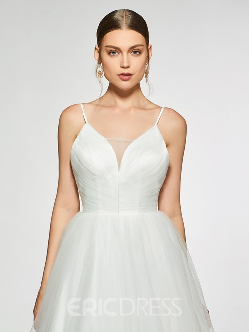 Ericdress Spaghetti Straps Appliques Backless Wedding Dress