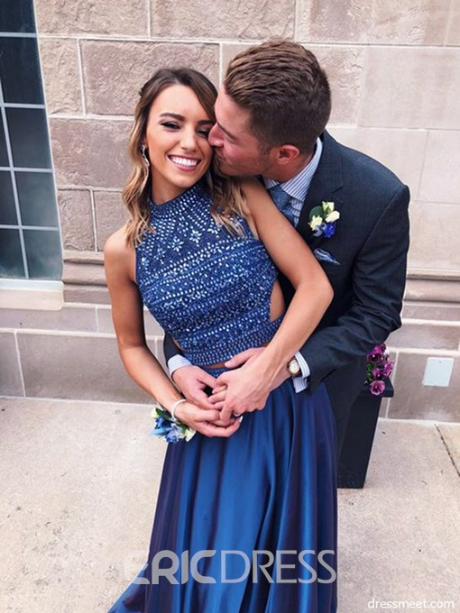 Ericdress Halter Hollow Beading Prom Dress