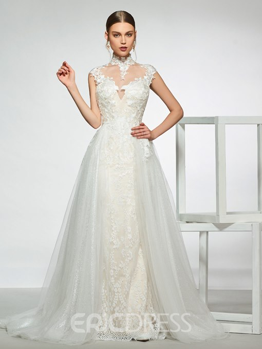 Ericdress High Neck Lace Wedding Dress with Removable Train