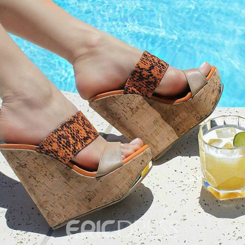 Ericdress PU Wedge Heel Flip Flop Women's Sandals