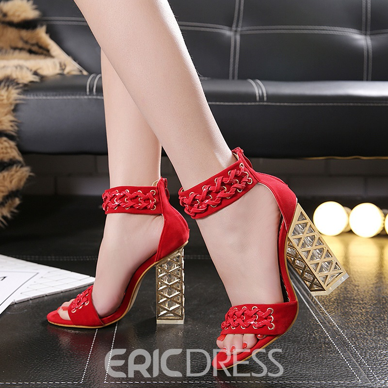 Ericdress PU Zipper Heel Covering Chunky Heel Women's Sandals