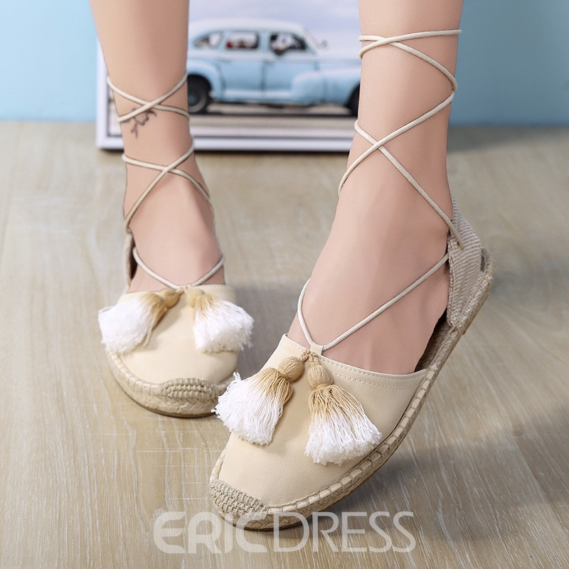 Ericdress Fringe Round Toe Lace-Up Women's Flat Sandals