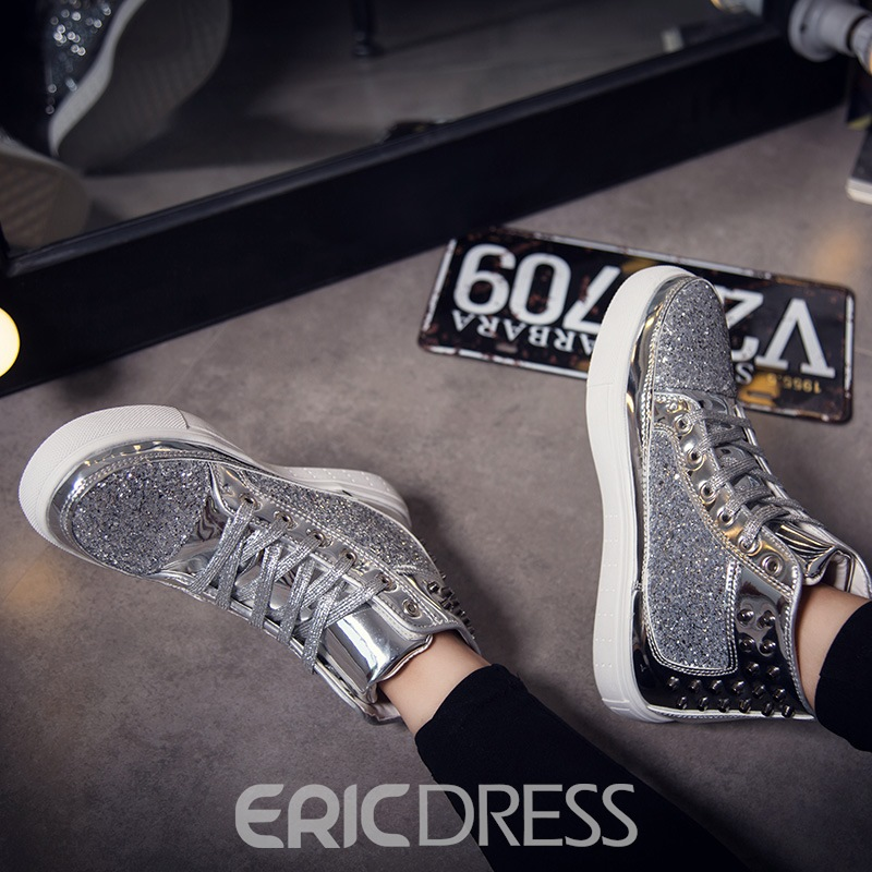 Ericdress Sequin Lace-Up Round Toe Men's Skate Shoes