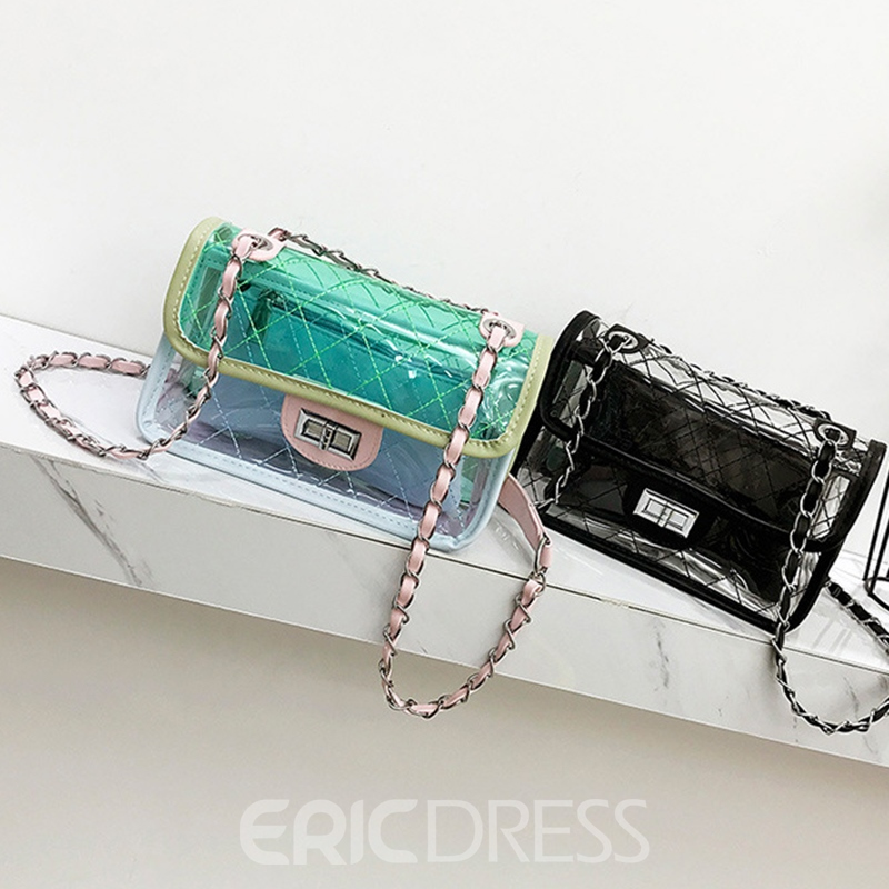 Ericdress PU Plaid Chain Spring Flap Crossbody Bags