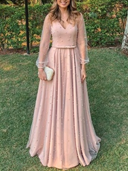 Ericdress Pearls A-Line Long Sleeve Mother of the Bride Dress