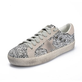 Ericdress Sequin Round Toe Lace-Up Women's Casual Sneakers