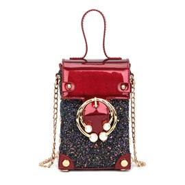 Ericdress Chain Plain PU Trunk Crossbody Bags