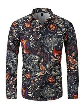 Ericdress Lapel Printed Button Up Mens Casual Spring Shirt