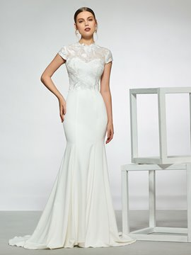 Mermaid Cap Sleeves Lace Wedding Dress