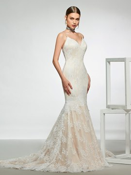 Ericdress Mermaid Spaghetti Straps Lace Wedding Dress 2019