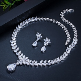 Water Drop European Gemmed Jewelry Sets (Wedding)