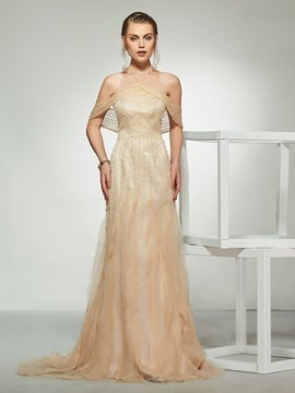 Ericdress Beading Halter Open Shoulder Wedding Dress