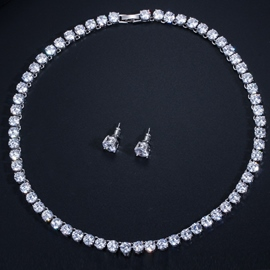 Rhinestone Necklace European Wedding Jewelry Sets