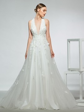 Ericdress A-Line Floor-Length Sleeveless Hall Wedding Dress 2019