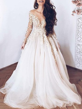 Ericdress Sheer Neck Appliques Long Sleeve Wedding Dress