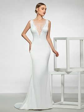 Ericdress Flowers Beading Low Back Wedding Dress