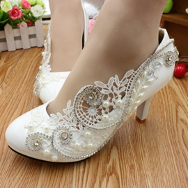 Ericdress Appliques Stiletto Heel Round Toe Wedding Shoes