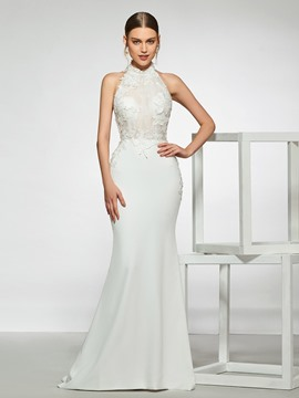 Ericdress Halter Appliques Backless Wedding Dress 2019