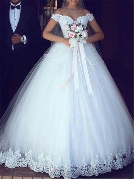 Ericdress Ball Gown Off-The-Shoulder Appliques Bridal Gown 2019