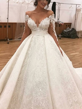 Ericdress Long Sleeves Lace Appliques Wedding Dress 2019
