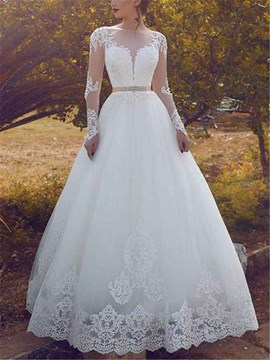Ericdress Appliques Beading Long Sleeve Wedding Dress