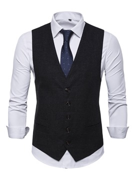 Ericdress Plain V-Neck Single-Breasted Mens Casual Waistcoat