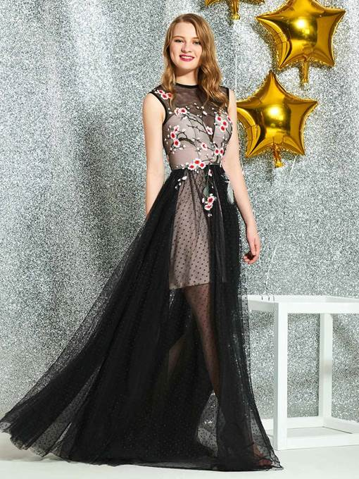 Ericdress Round Neck Embroidery Appliques Prom Dress 2019
