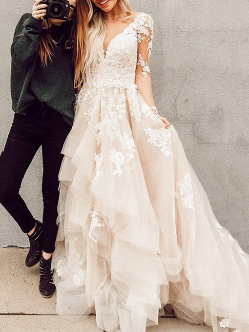 Ericdress Cascading Ruffles Long Sleeves Wedding Dress 2019