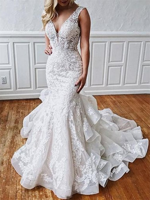 Ericdress Button Backless Appliques Mermaid Wedding Dress 2019