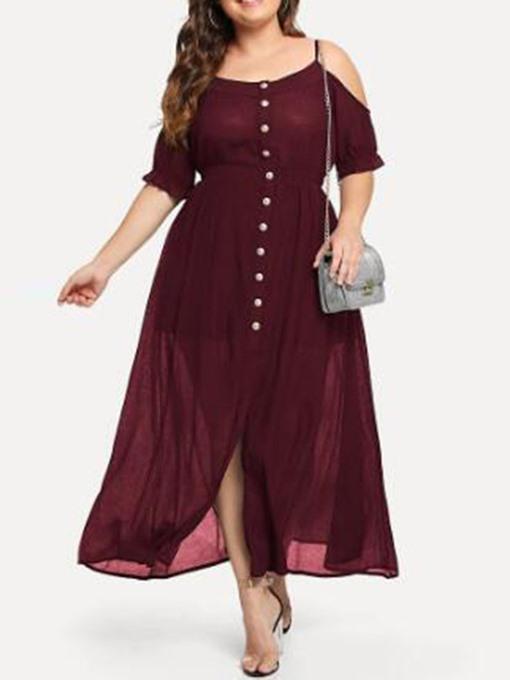 Ericdress Ankle-Length Half Sleeve Button Pullover Plus Size Dress