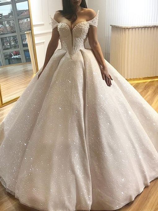Ericdress Sweetheart Pearls Ball Gown Sequins Wedding Dress 2019