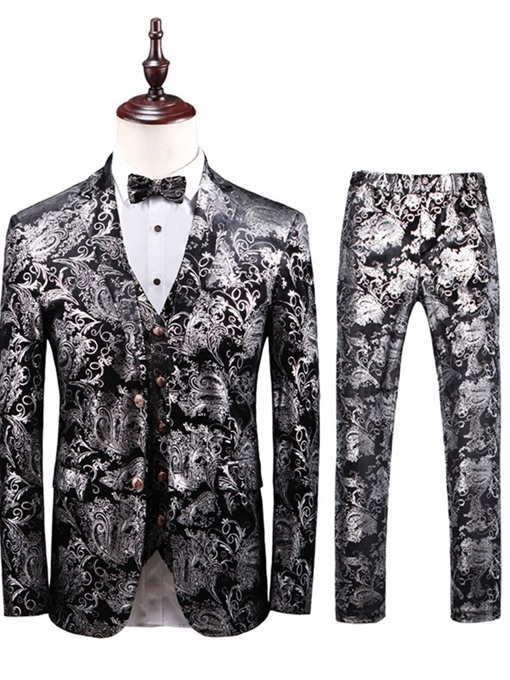 Ericdress Floral Printed 3Pieces Mens Casual Party Dress Suit