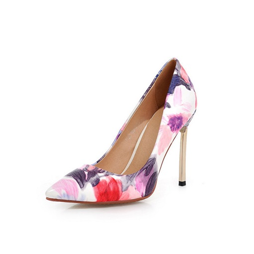 Ericdress PU Floral Pointed Toe Slip-On Stiletto Heel Women's Pumps