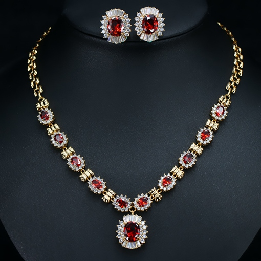 Rhinestone Floral Earrings European Jewelry Sets (Wedding)