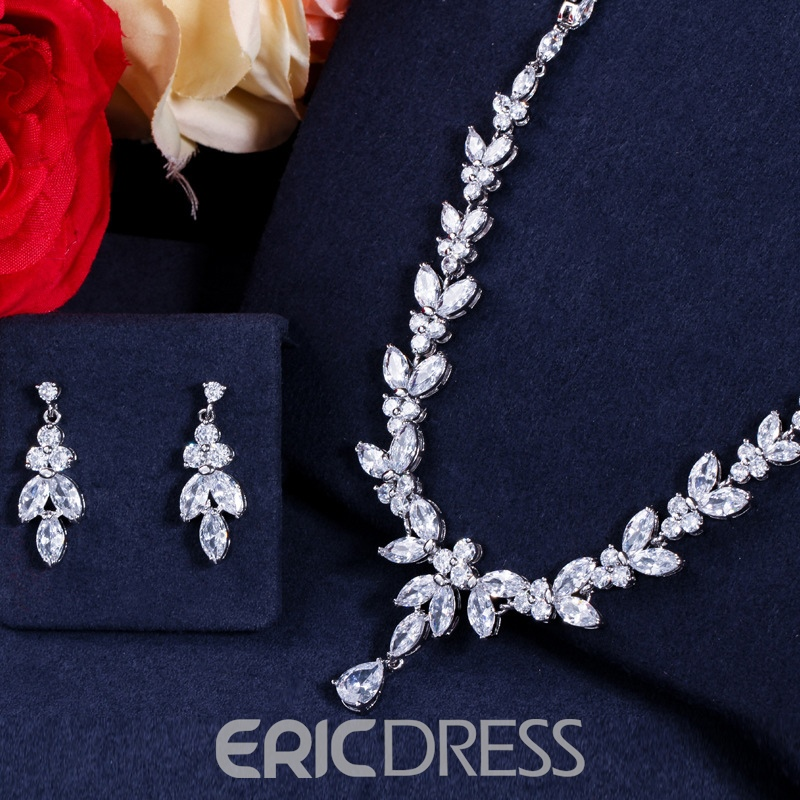 Floral Earrings Necklace European Wedding Jewelry Sets