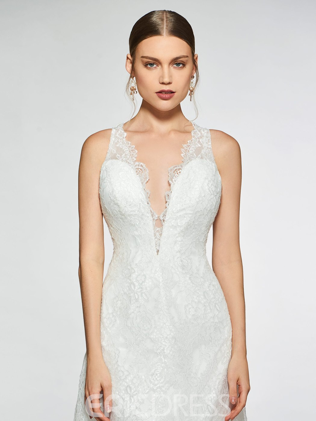 Ericdress Sheer Back V-Neck Lace Wedding Dress 2019