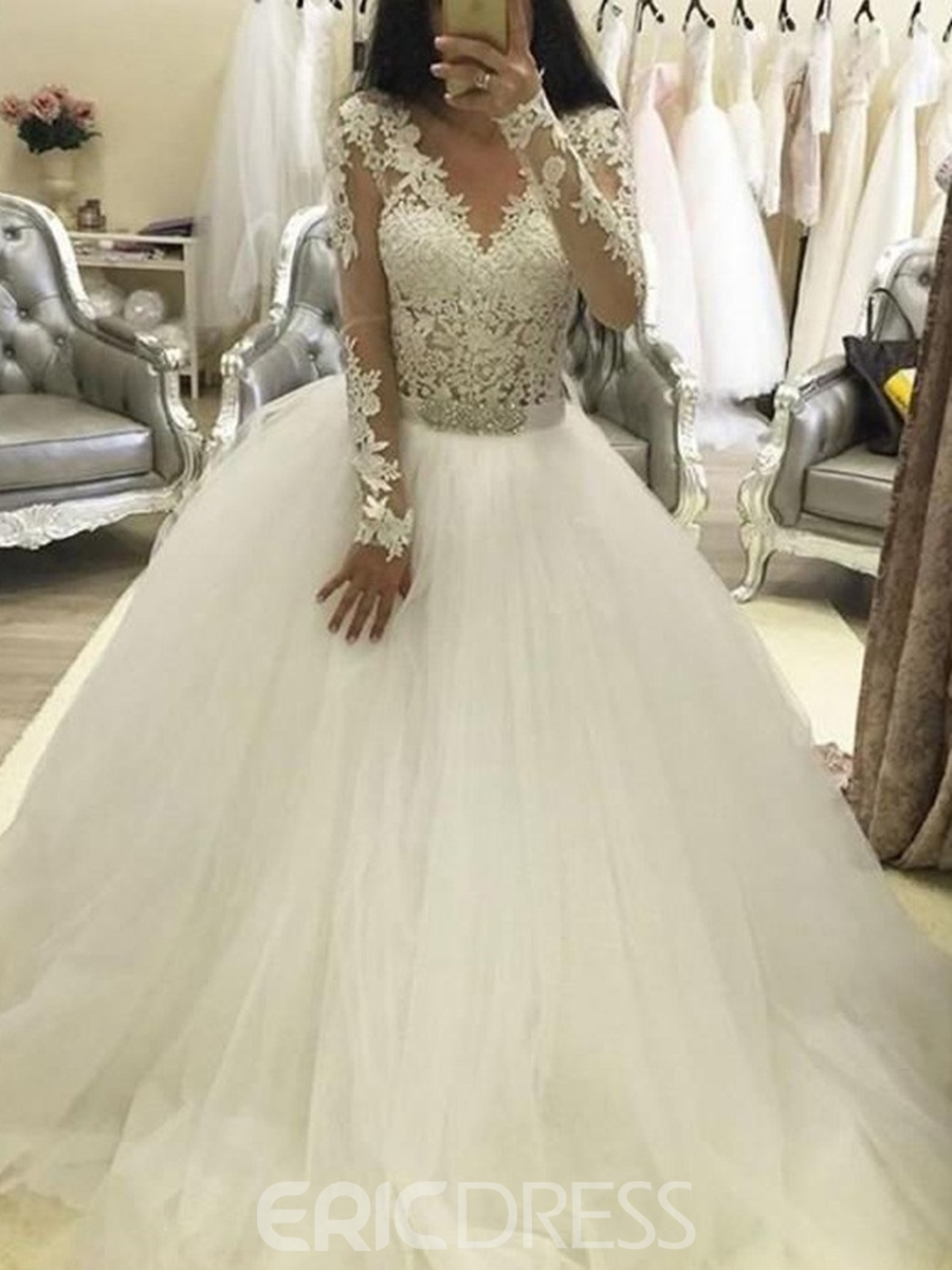Ericdress Ball Gown Appliques Long Sleeves Wedding Dress 2019