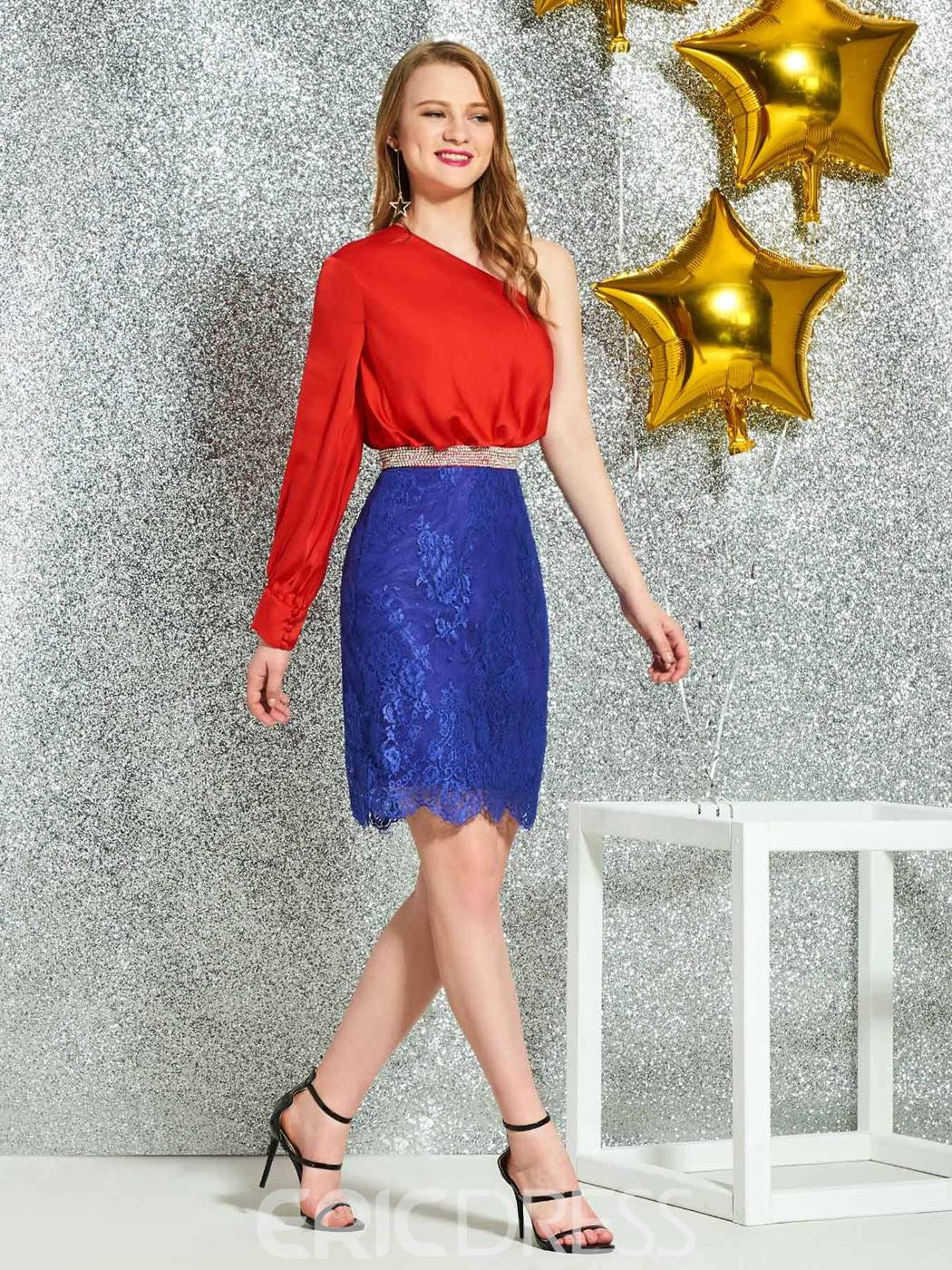 Ericdress One Shoulder Beading Lace Cocltail Dress