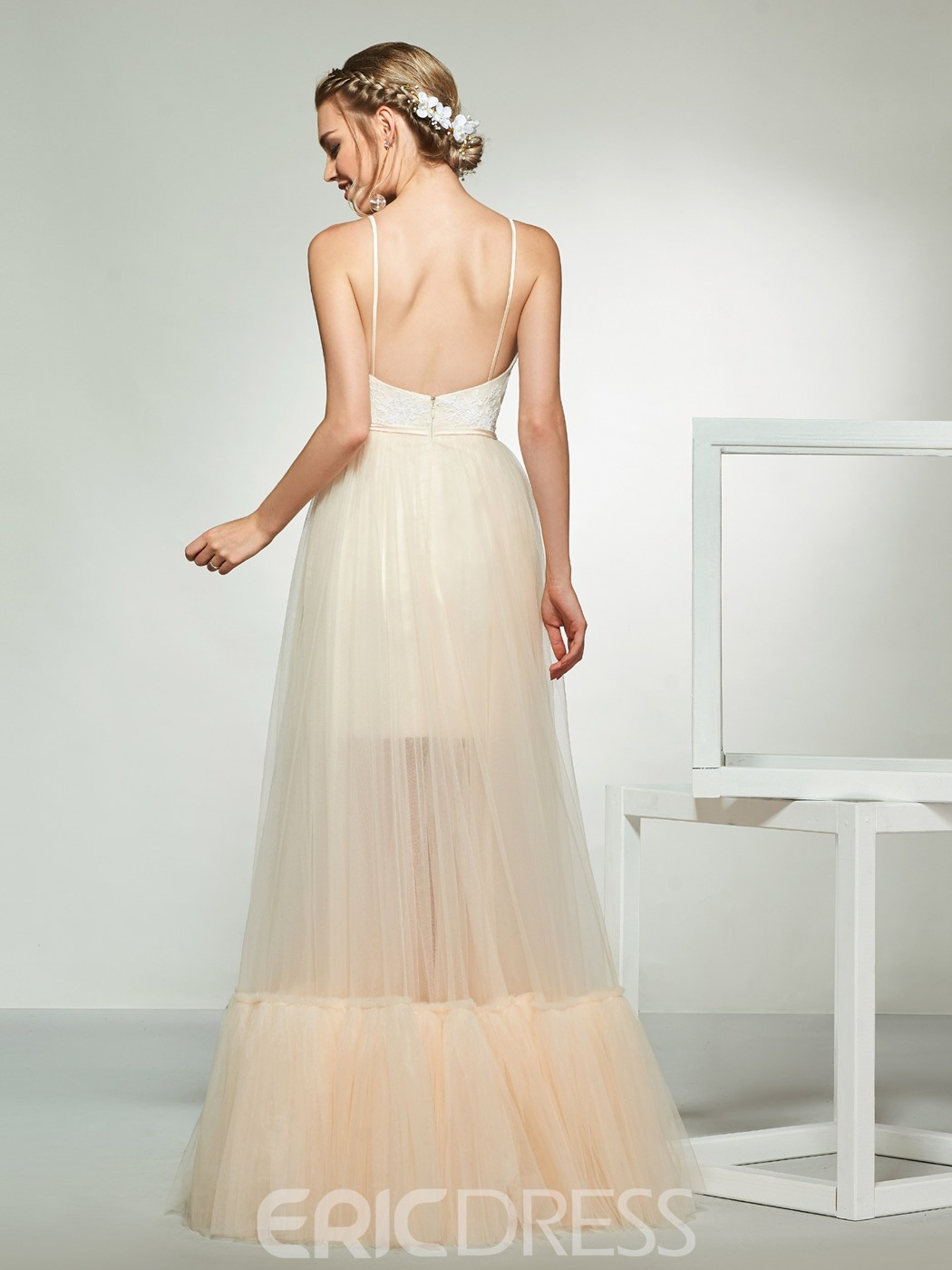 Ericdress Spaghetti Straps Lace Outdoor Wedding Dress